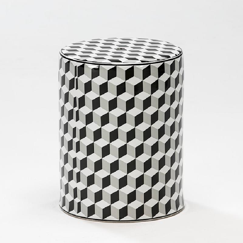 Sgabello 33X43 Ceramica Bianco Nero Grigio