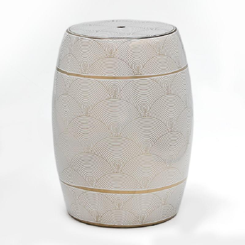 Sgabello 32X43 Ceramica Bianco Dorato