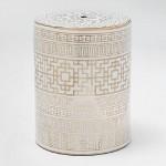 Tabouret bas 33x43 Céramique Blanc Doré Modèle 2