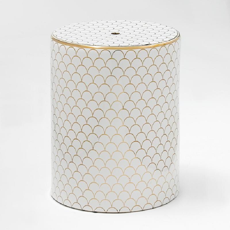 Stool 33X43 Ceramic White Golden Model 3 - image 52511