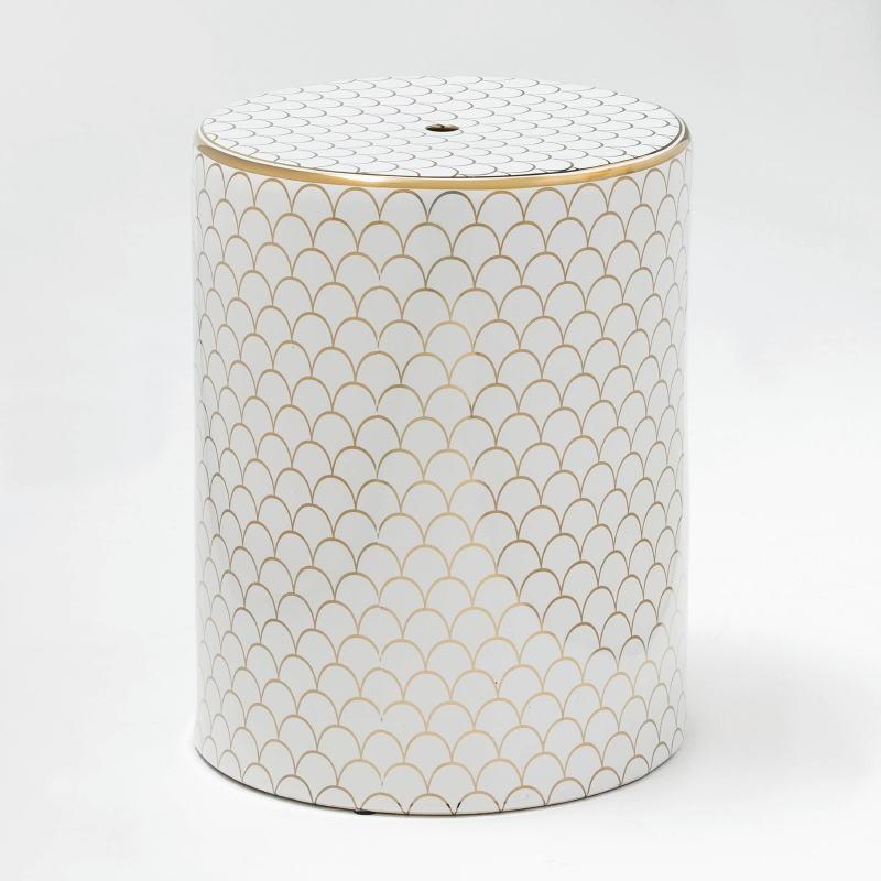 Stool 33X43 Ceramic White Golden Model 3 - image 52512