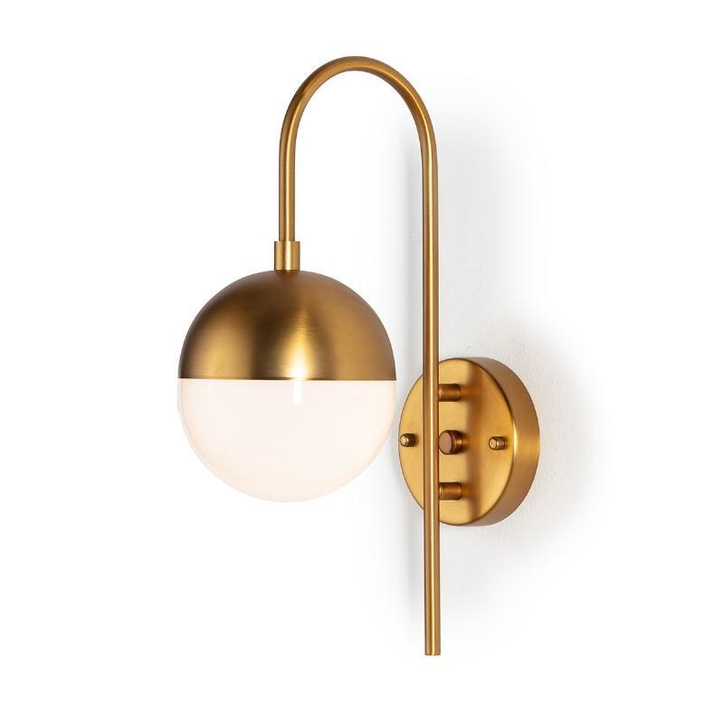 Wall Lamp 15X27X42 Glass White Metal Golden