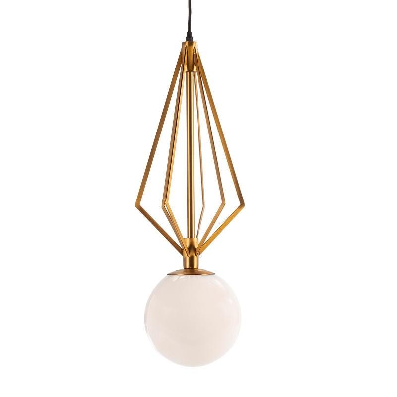 Lampada A Sospensione 23X23X68 Vetro Bianco Metallo Dorato - image 52536