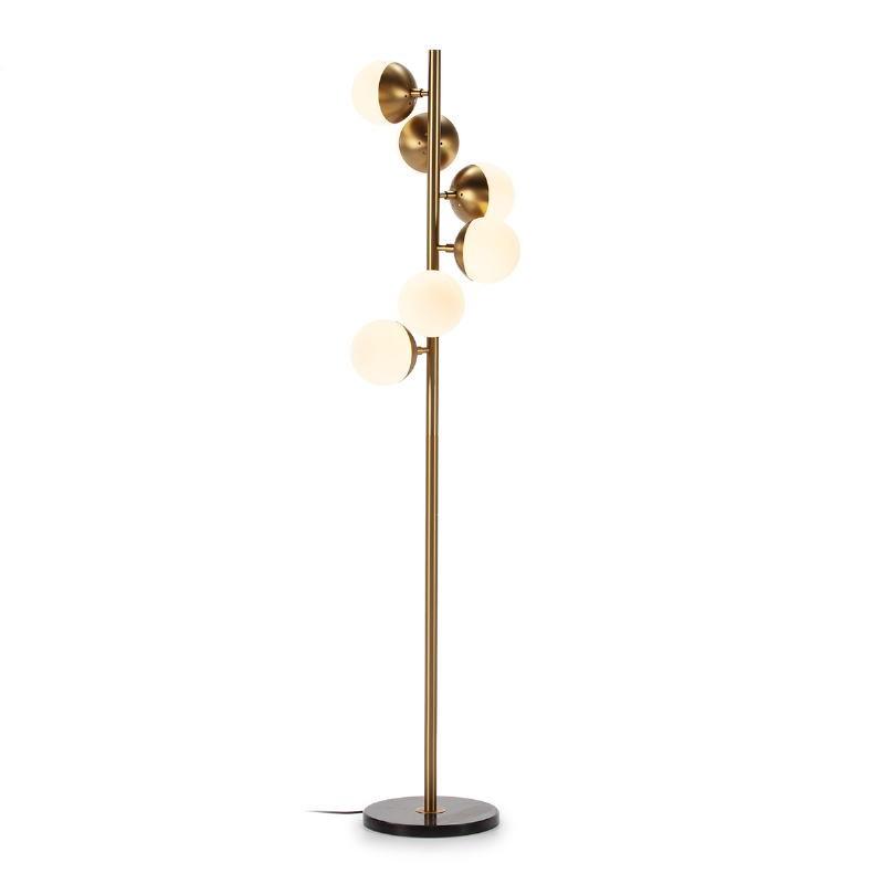 Lámpara De Pié 36X36X153 Cristal Blanco Mármol Negro Metal Dorado - image 52546