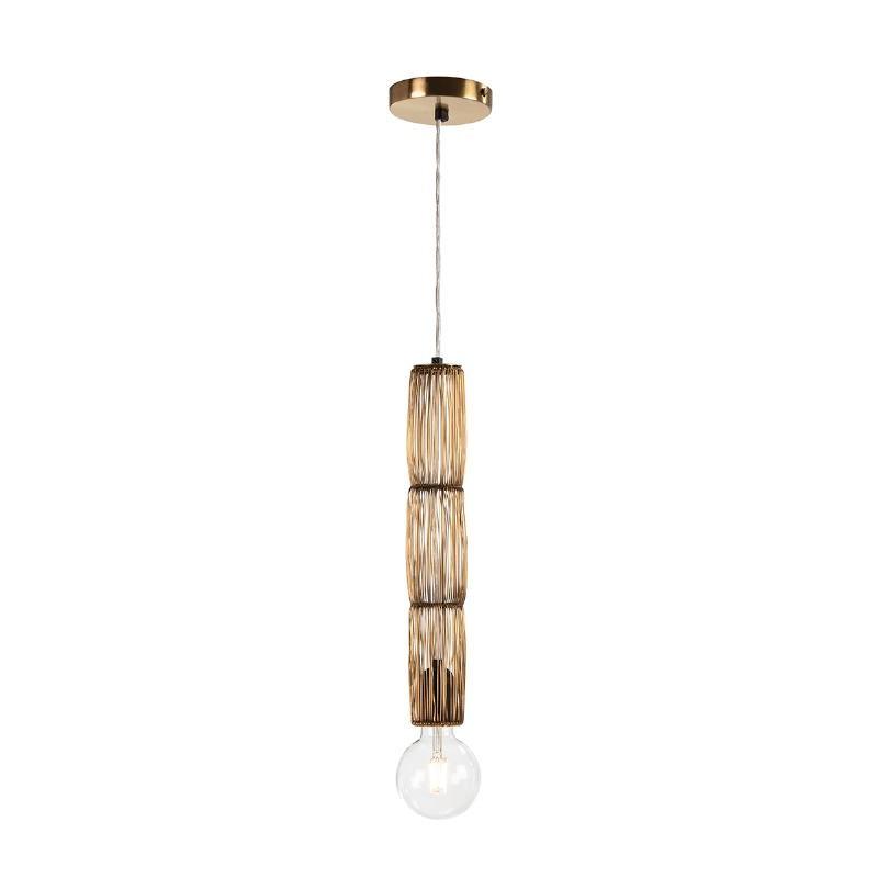 Lampe suspendue 6x6x40 Fil de fer Doré - image 52555