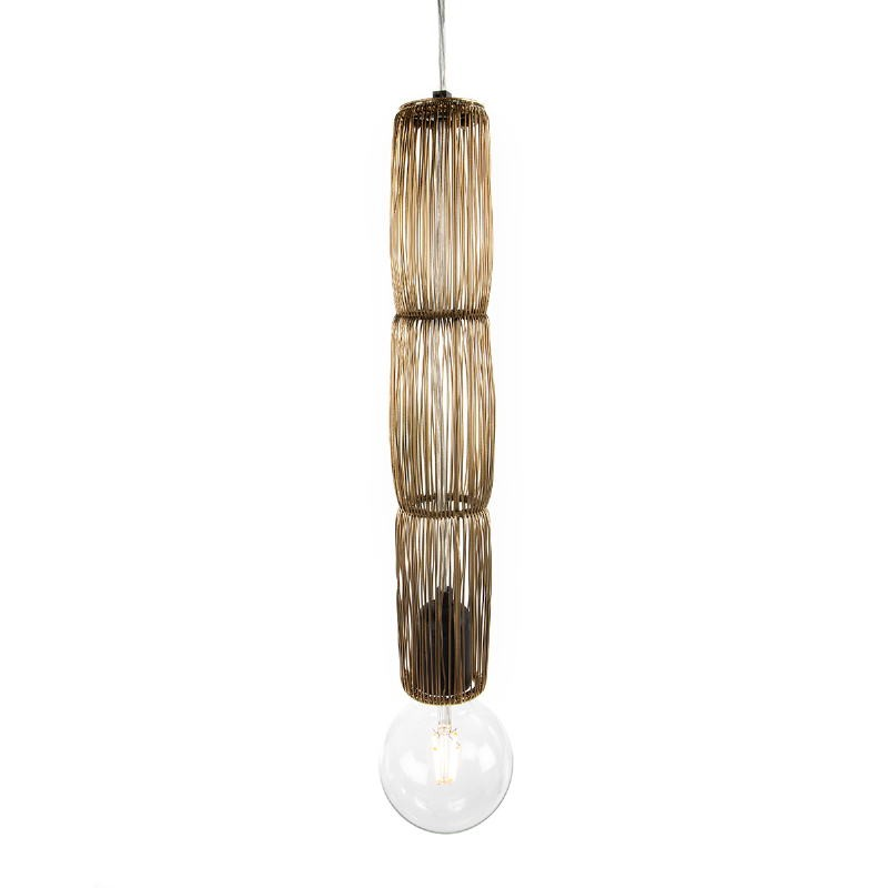 Lampe suspendue 6x6x40 Fil de fer Doré - image 52556