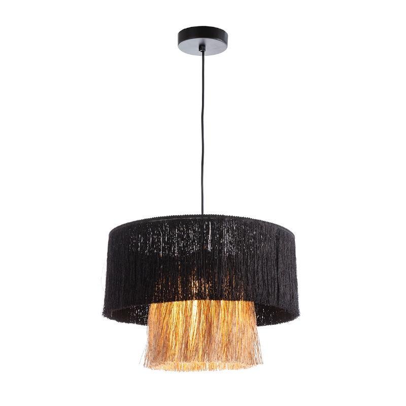 Lampe suspendue avec abat-jour 40x40x28 Jute Naturel tissu Noir - image 52569
