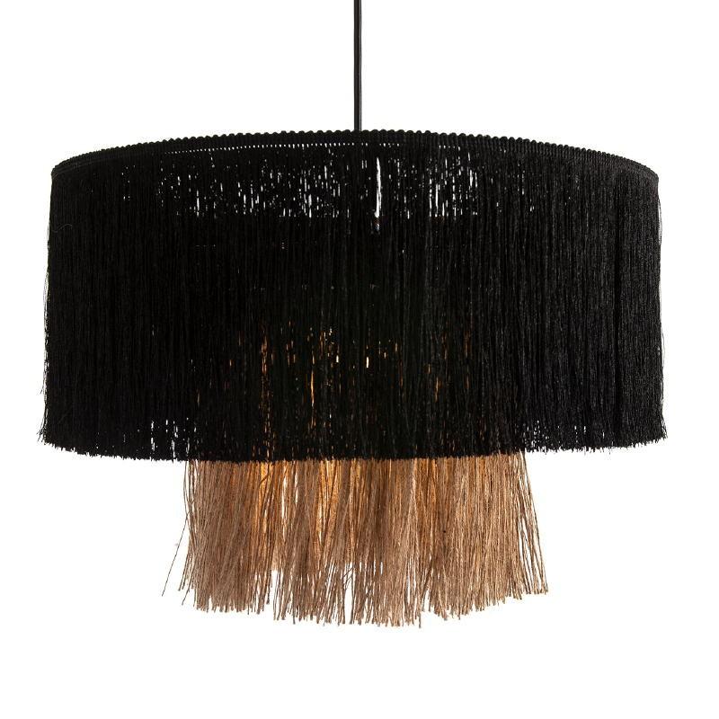 Lampe suspendue avec abat-jour 40x40x28 Jute Naturel tissu Noir - image 52570