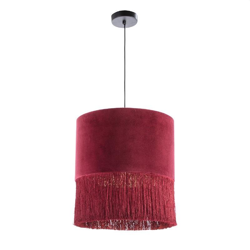 Lampada A Sospensione Con Paralume 40X40X43 Velluto Rosso