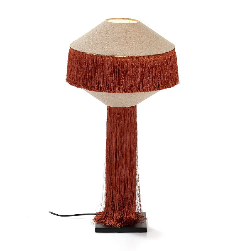 Table Lamp With Lampshade 30X30X62 Metal Black Linen Natural Fabric Ocre - image 52590