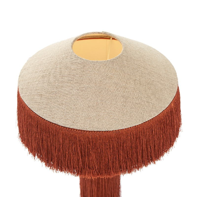 Table Lamp With Lampshade 30X30X62 Metal Black Linen Natural Fabric Ocre - image 52591