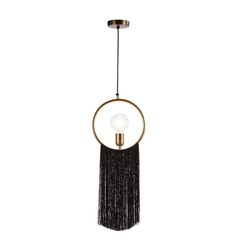 Hanging Lamp 27X4X30 Metal Golden Fabric Black - image 52597