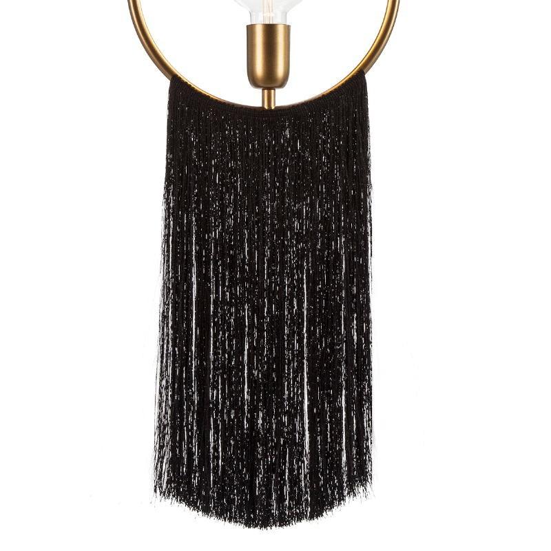 Hanging Lamp 27X4X30 Metal Golden Fabric Black - image 52598