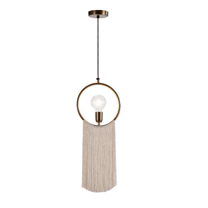 Hanging Lamp 27X4X30 Metal Golden Fabric White