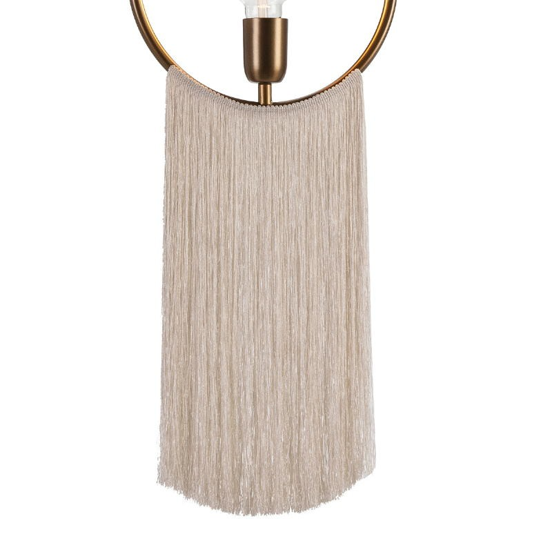 Lampada A Sospensione 27X4X30 Metallo Dorato Tessuto Bianco - image 52600