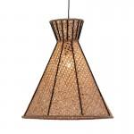 Lampada A Sospensione 42X42X43 Metallo Nero Rattan Naturale