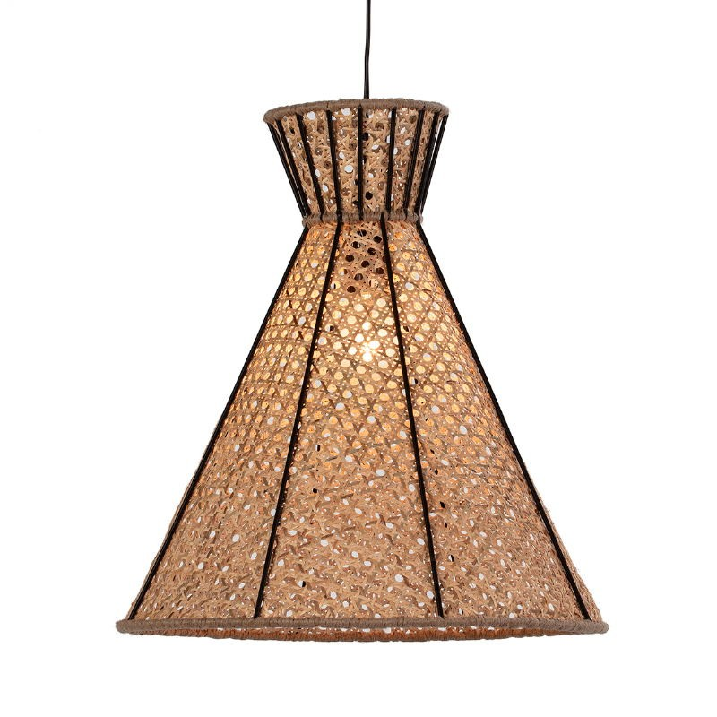 Lampe suspendue 42x42x43 Métal Noir Rotin Naturel - image 52617