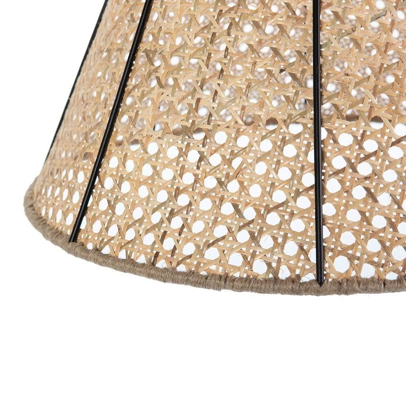 Lampada A Sospensione 42X42X43 Metallo Nero Rattan Naturale - image 52618