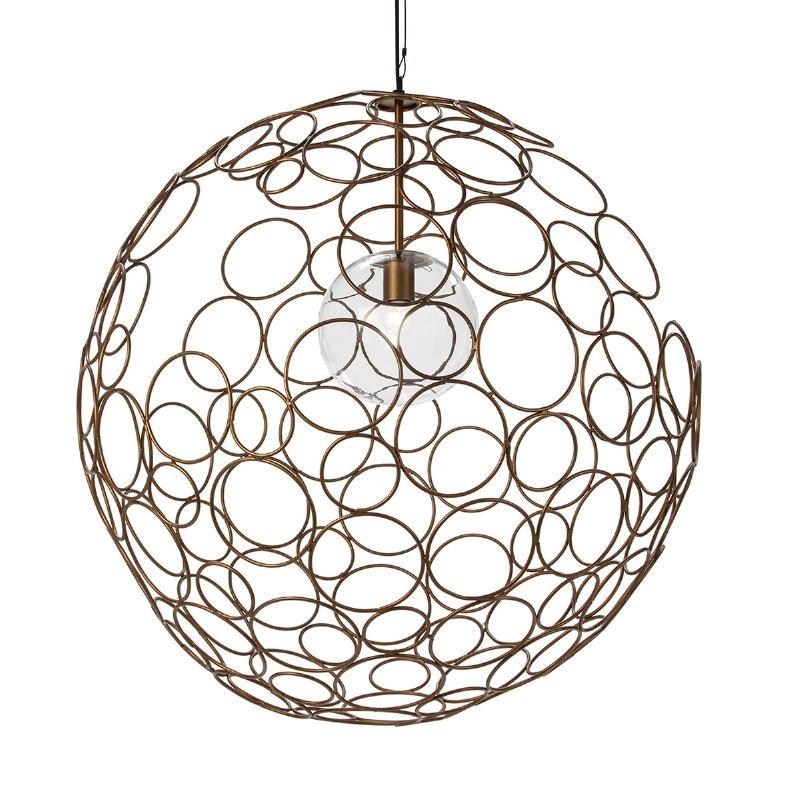 Lampe suspendue 80x80x80 Verre Métal Doré