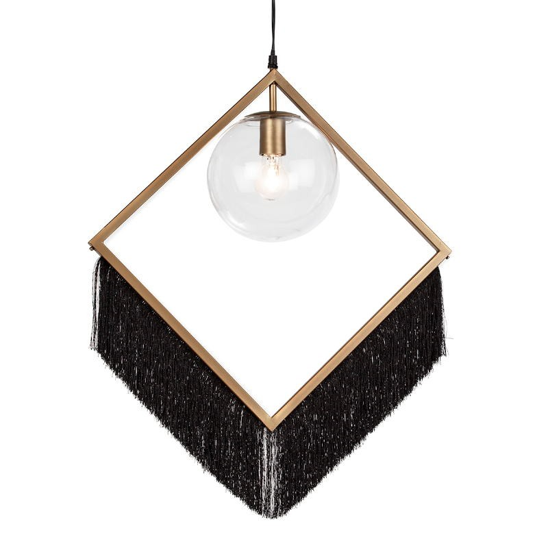 Lámpara Colgante 57X20X80 Cristal Metal Dorado Tela Negro