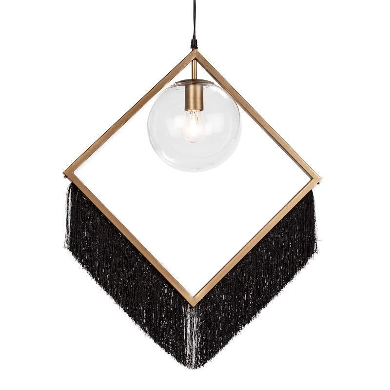 Lampe suspendue 57x20x80 Verre Métal Doré Toile Noir