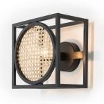 Wall Lamp 24X14X24 Metal Black Rattan Natural