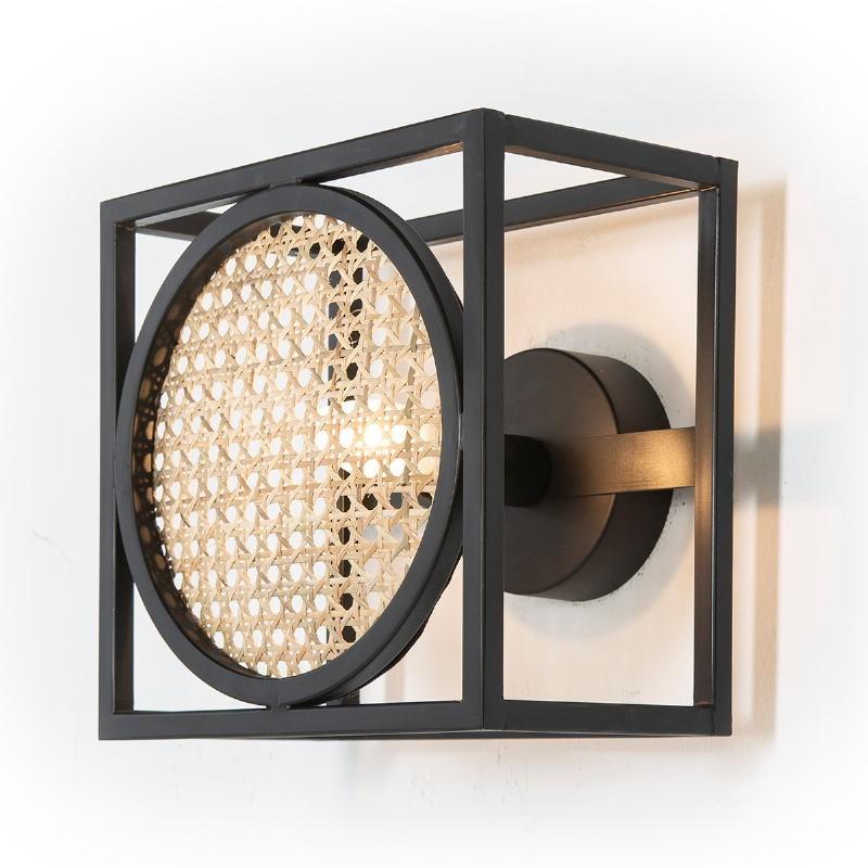 Wall Lamp 24X14X24 Metal Black Rattan Natural - image 52644