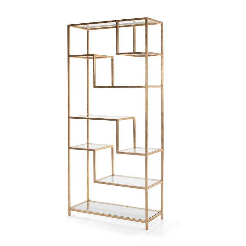 Shelf 91X38X203 Glass Metal Golden - image 52680