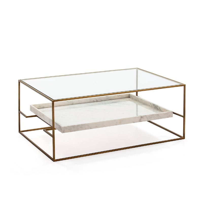Table basse 111x76x45 Verre Marbre Blanc Métal Doré - image 52703