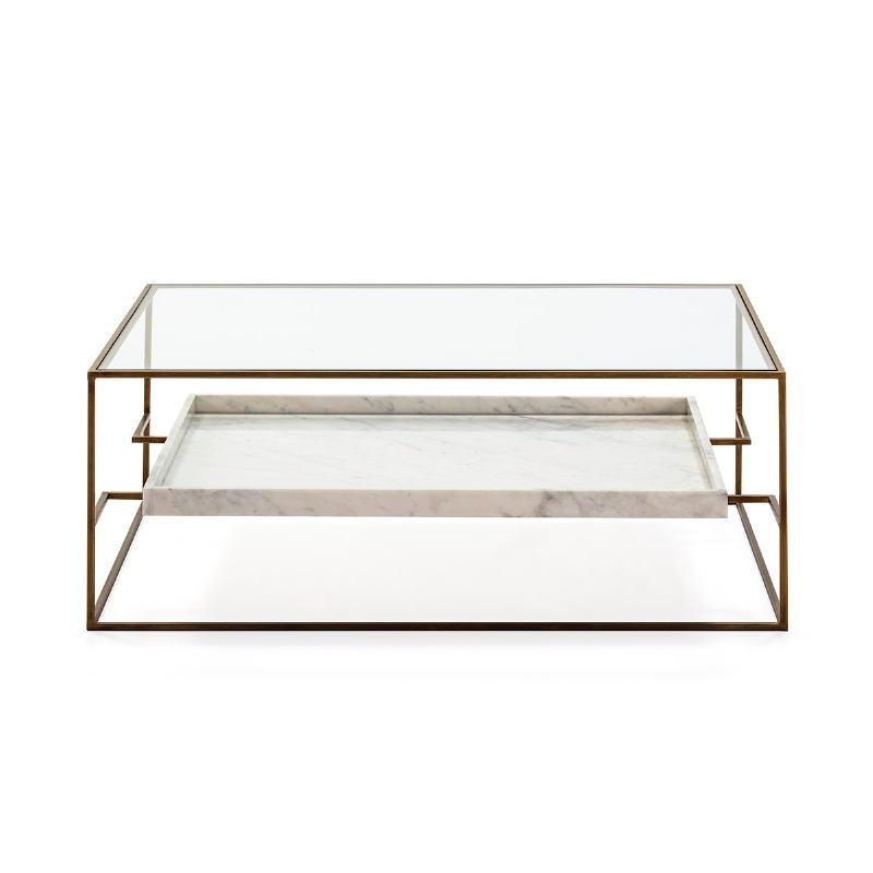 Table basse 111x76x45 Verre Marbre Blanc Métal Doré - image 52706