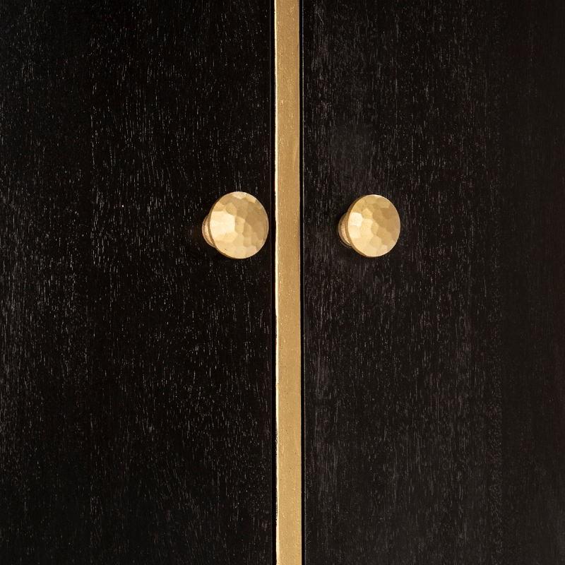 Bar 100x50x151 Bois Noir Métal Doré - image 52727
