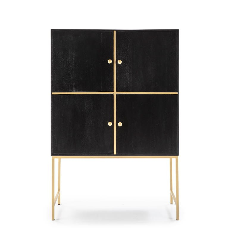 Mueble Bar 100X50X151 Madera Negro Metal Dorado - image 52729