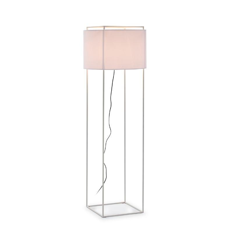 Lámpara De Pié Con Pantalla 55X55X165 Metal Blanco