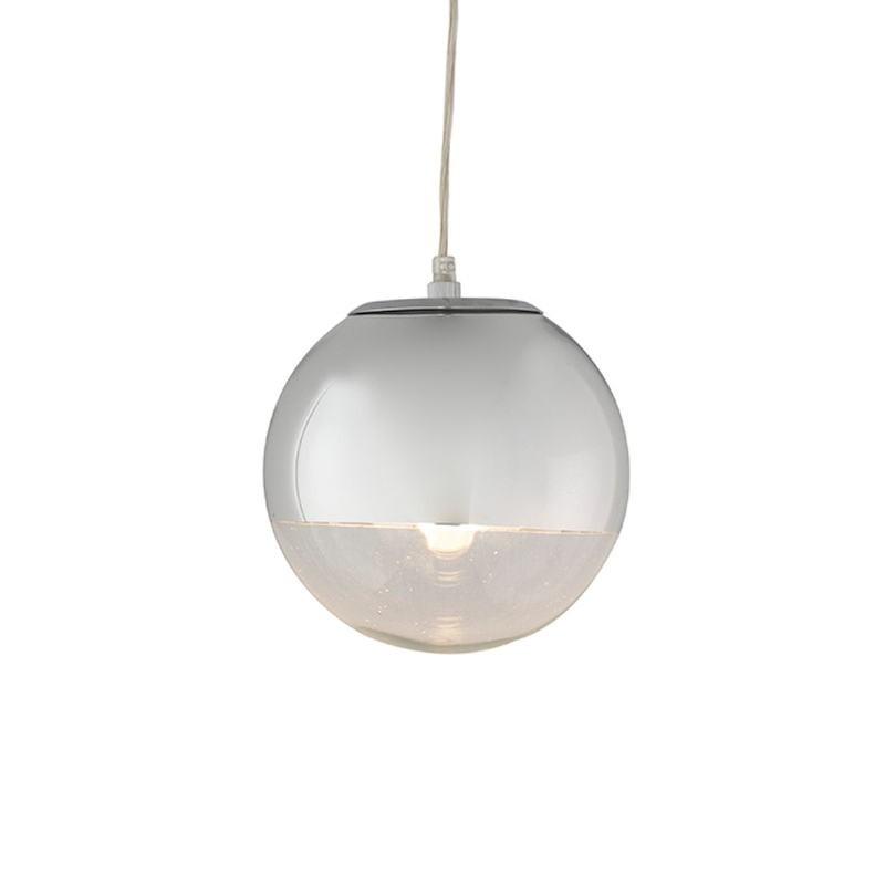 Lampada A Sospensione 20X20X20 Vetro Metallo Argento - image 52746