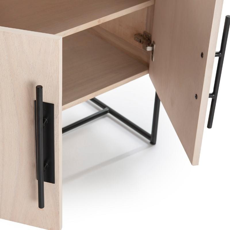 Anrichte 2 Türen 90X40X93 Holz Natürlich/Metall Schwarz - image 52807