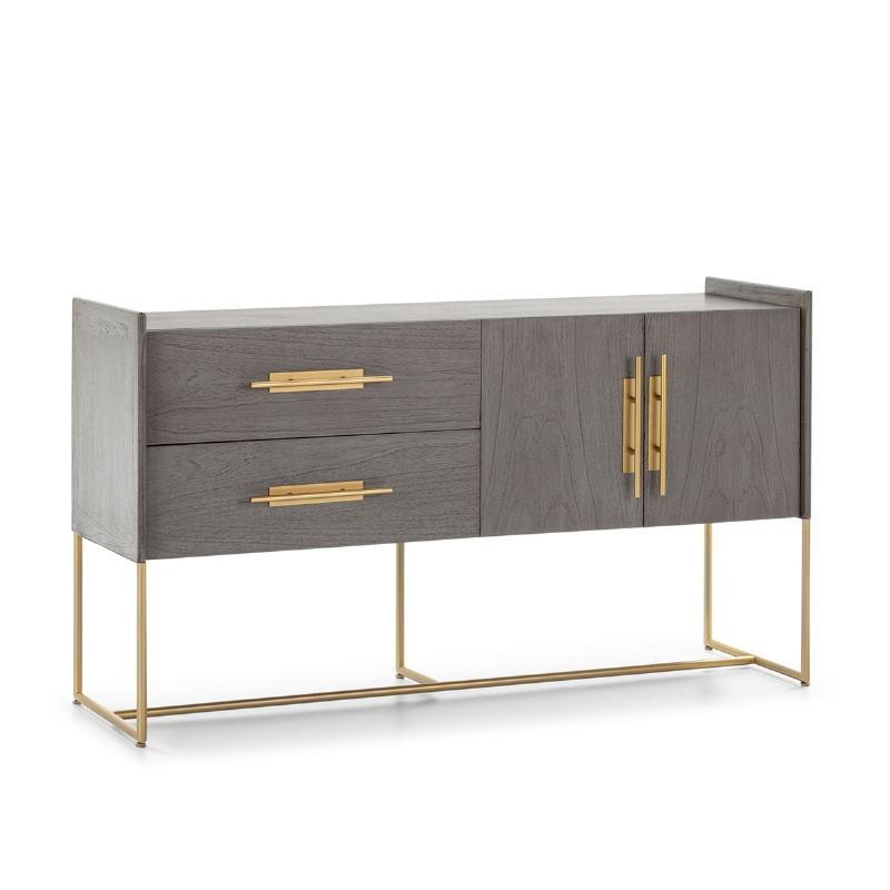 Anrichte 2 Türen 2 Schubladen 150X46X86 Holz Grau/Metall Golden - image 52810