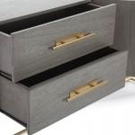 Anrichte 2 Türen 2 Schubladen 150X46X86 Holz Grau/Metall Golden