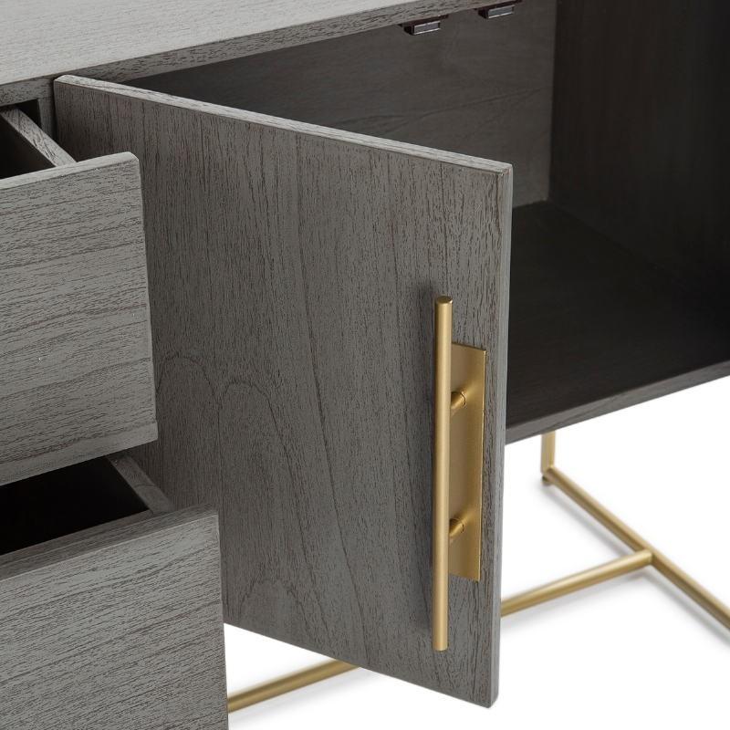 Anrichte 2 Türen 2 Schubladen 150X46X86 Holz Grau/Metall Golden - image 52814