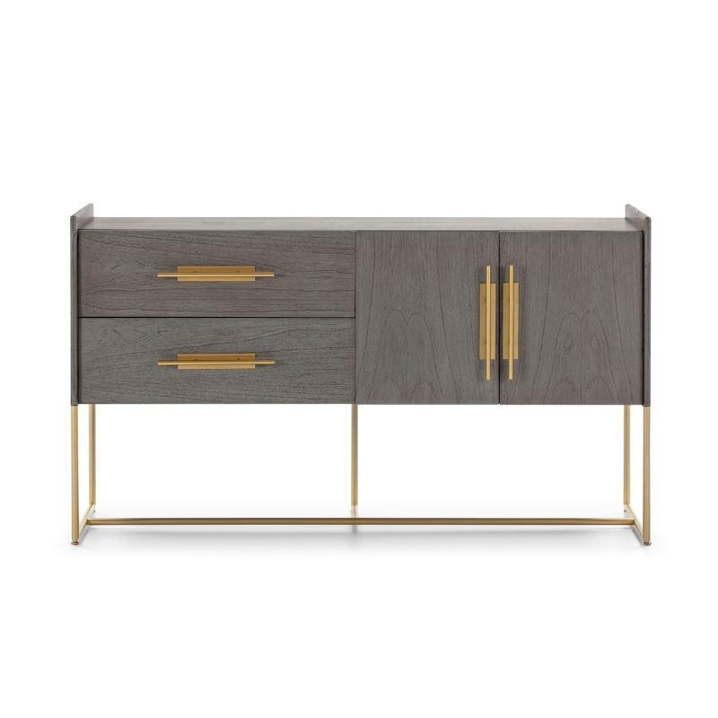 Anrichte 2 Türen 2 Schubladen 150X46X86 Holz Grau/Metall Golden - image 52815