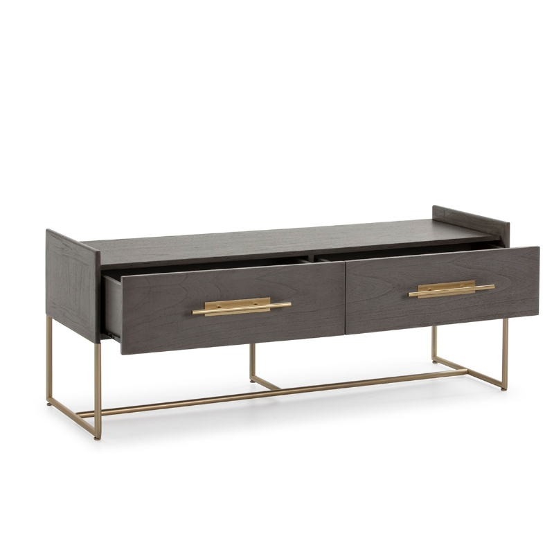 Mueble Tv 2 Cajones 140X45X55 Madera Gris Metal Dorado - image 52838