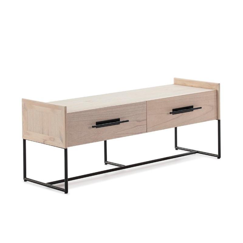 Mueble Tv 2 Cajones 140X45X55 Madera Natural Metal Negro