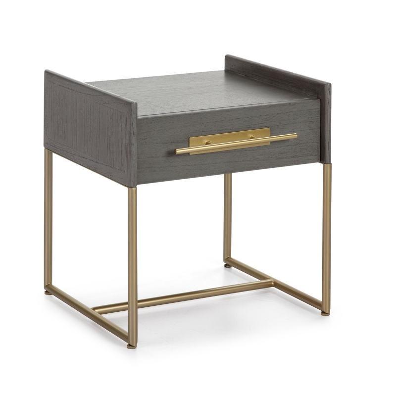 Table de chevet 1  tiroir 50x45x54 Bois Gris Métal Doré