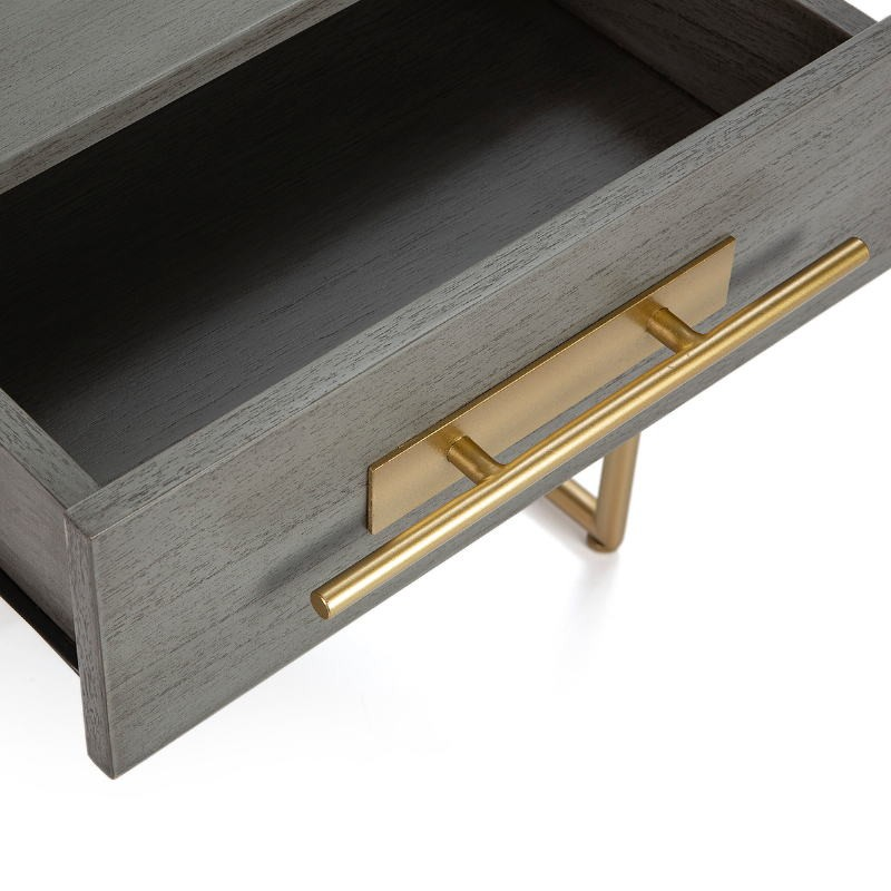 Comodino 1 Cassetto 50X45X54 Legno Grigio Metallo Dorato - image 52858