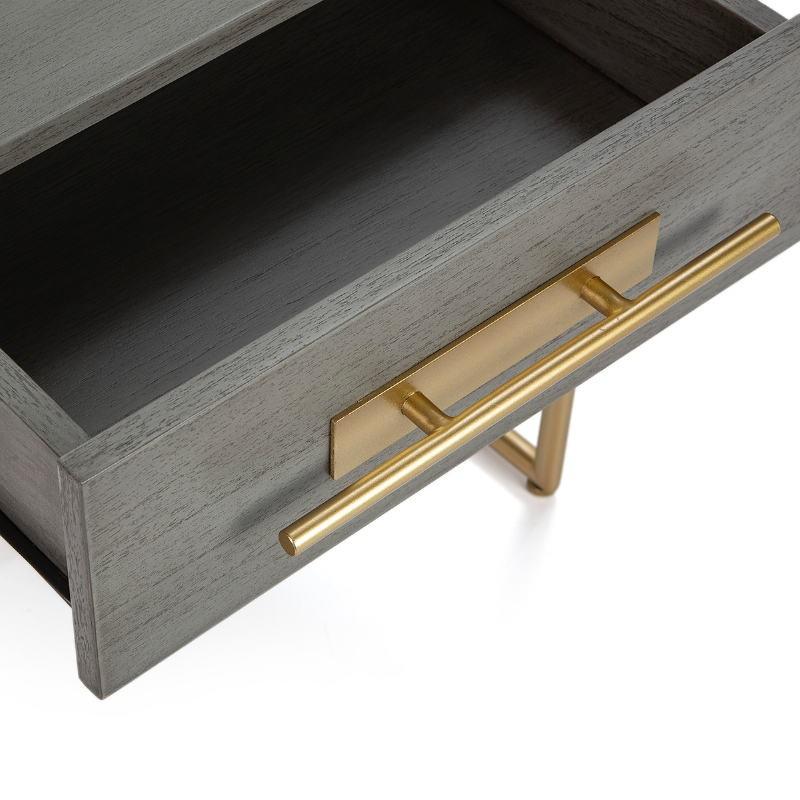 Table de chevet 1  tiroir 50x45x54 Bois Gris Métal Doré - image 52858