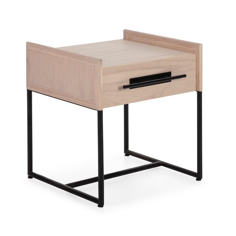 Nachttisch 1 Chublade 50X45X54 Holz Natürlich/Metall Schwarz - image 52861