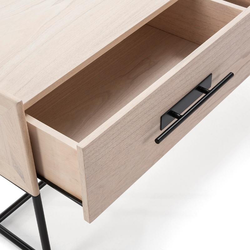 Bedside Table 1 Drawer 50X45X54 Wood Natural Metal Black - image 52862