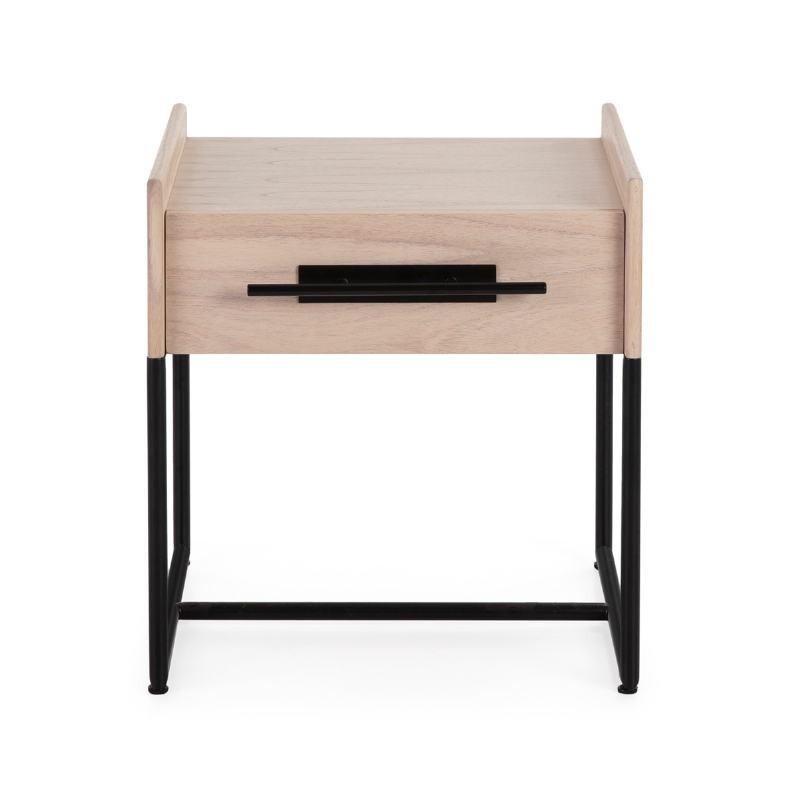 Bedside Table 1 Drawer 50X45X54 Wood Natural Metal Black - image 52864