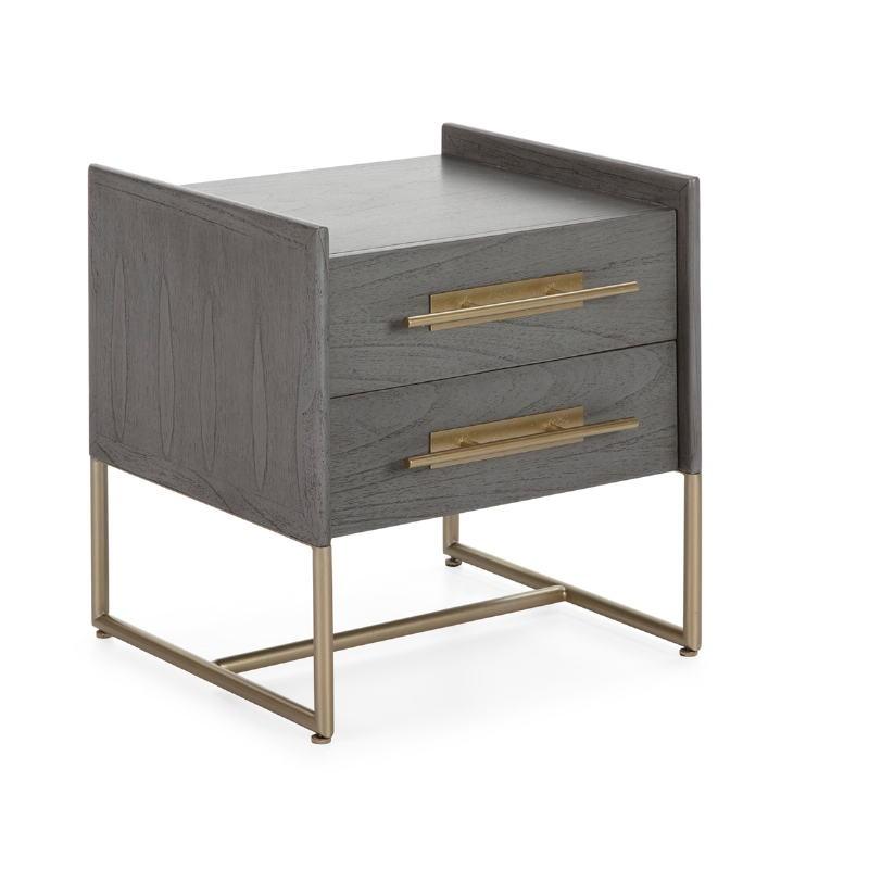 Table de chevet 2 tiroirs 50x45x54 Bois Gris Métal Doré Modèle 2