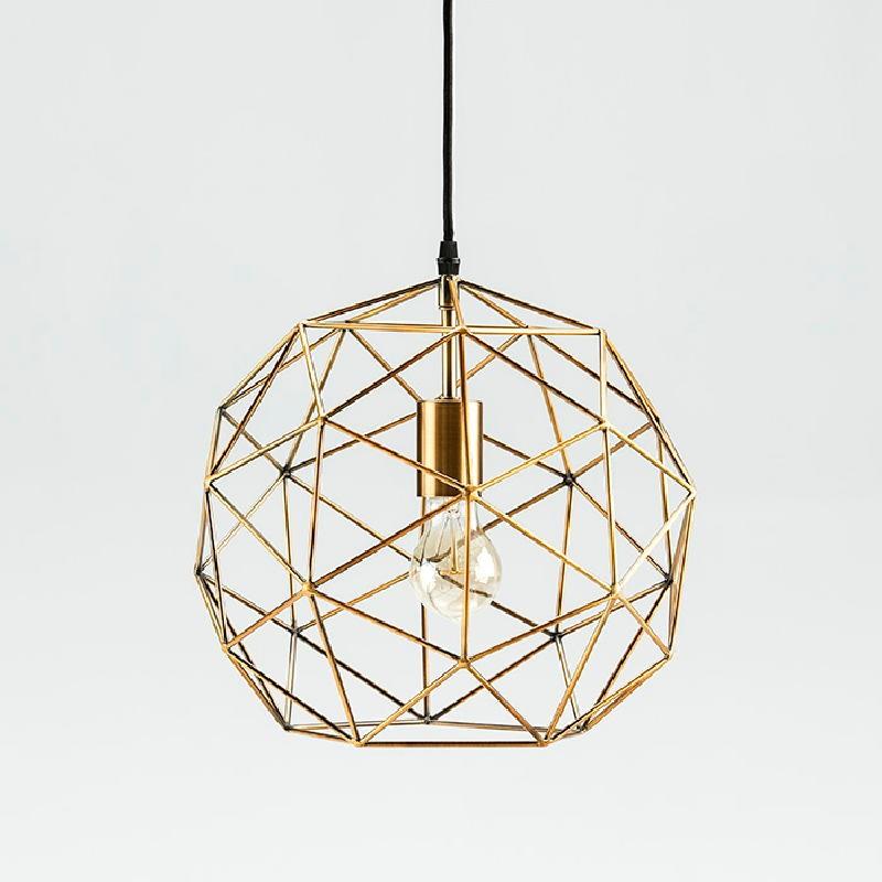 Lampada A Sospensione Con Paralume 32X30 Metallo Dorato - image 52903