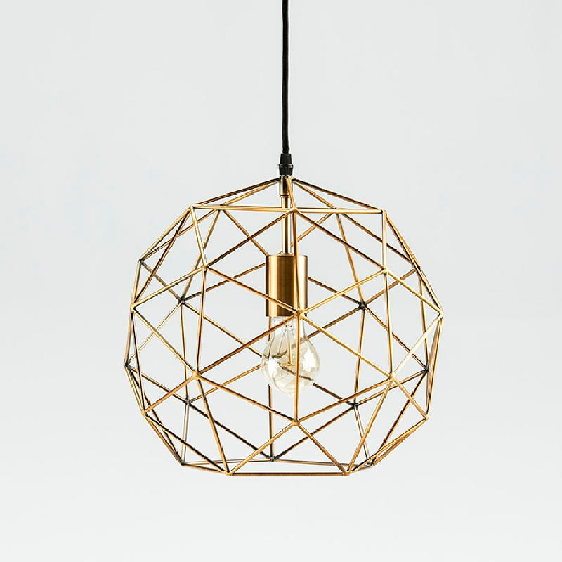 Lampe suspendue avec abat-jour 32x30 Métal Doré - image 52903